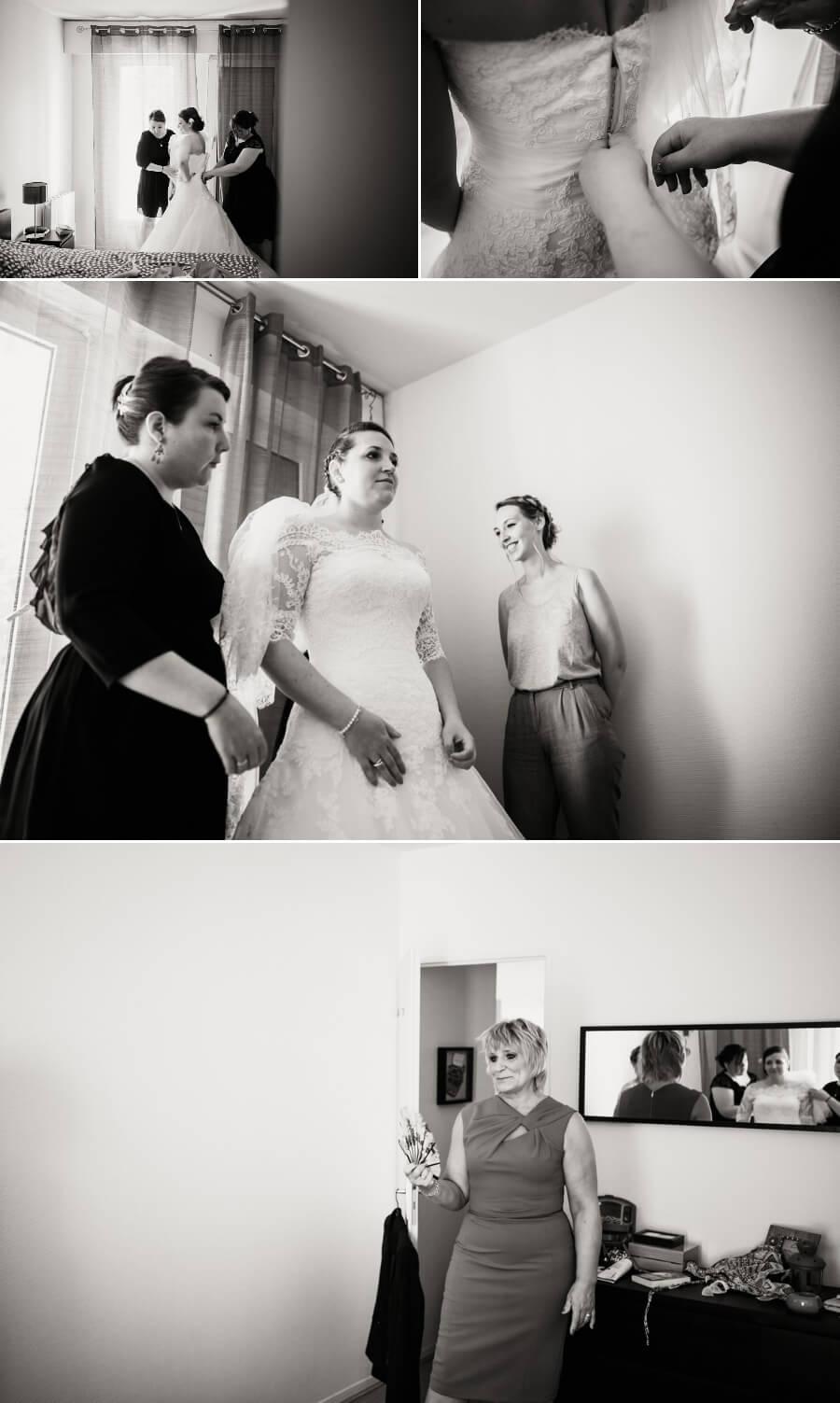 habillage de la mariée reportage photos de mariage Chartres